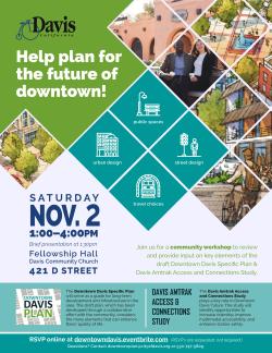 Downtown Davis Plan and Amtrak Study Workshop Flier